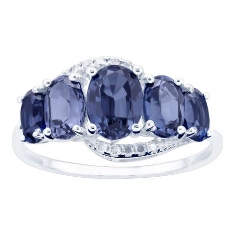 10K White Gold 2.44ct TW Tanzanite and Diamond Ring - Purple