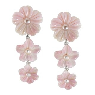 Michael Valitutti Palladium Silver Mother of Pearl and Pink Pearl Flower Earring