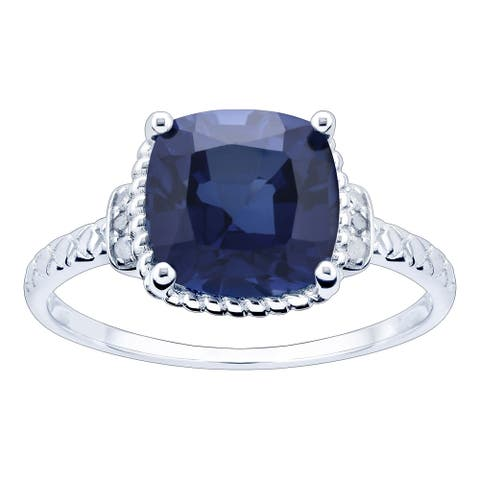 10K White Gold 3.23ct TW Sapphire and Diamond Ring - Blue