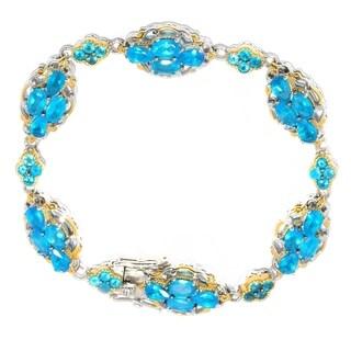 Michael Valitutti Palladium Silver Neon Apatite Cluster Bracelet