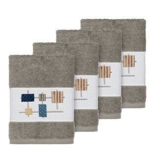 Authentic Hotel and Spa Turkish Cotton Squares Embroidered Dark Grey 4-piece Washcloth Set
