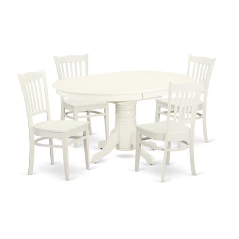 AVGR5-LWH-W 5Pc Set - a Table & 4Chairs in Linen White
