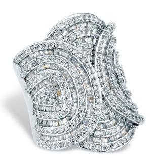 Platinum-Plated Cubic Zirconia Ring