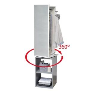 360 Swiveling Clothes Organizer Storage Cabinet Wardrobe Tower Mirror - 66.9H X 14.9w x 14.9d