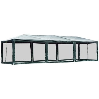 Outsunny 10' x 30' Gazebo Canopy Cover Tent with Removable Mesh Side Walls - Green