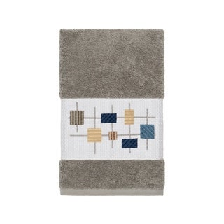Authentic Hotel and Spa Turkish Cotton Squares Embroidered Dark Grey Hand Towel