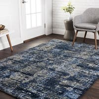 Transitional Navy Blue/ Grey Abstract Rug - 7'7 x 10'6