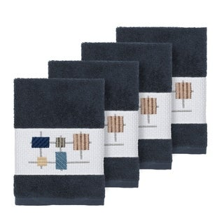 Authentic Hotel and Spa Turkish Cotton Squares Embroidered Midnight Blue 4-piece Washcloth Set