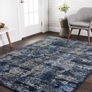 """Alexander Home Transitional Navy Blue/ Grey Abstract Rug - 3'10"""" x 5'7"""""""