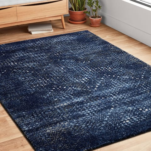 """Transitional Navy Blue Abstract Rug - 7'7"""" x 10'6"""""""