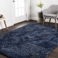 Transitional Navy Blue Abstract Rug - 7'7 x 10'6