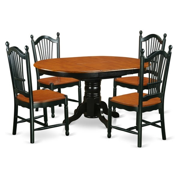 KO5-BCH-W 5Pc Set - 1 table & 4 chairs in a Black & Cherry