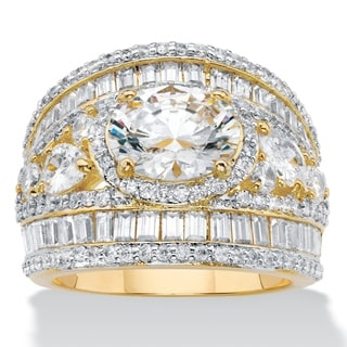 Yellow Gold Plated Cubic Zirconia Engagement Ring