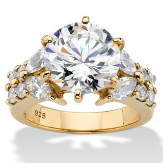 Yellow Gold over Sterling Silver Cubic Zirconia Engagement Ring (5 options available)