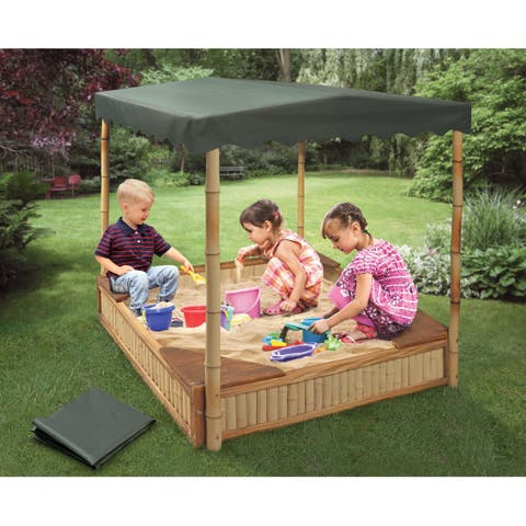 Badger Basket Tropical Fun Bamboo Sandbox with Canopy and Cover - 51 inches L x 48.5 inches W x 54.5 inches H