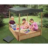 Badger Basket Tropical Fun Bamboo Sandbox with Canopy and Cover - Natural/Green