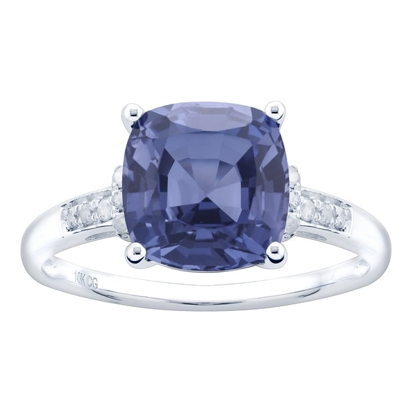 10K White Gold 3.30ct TW Tanzanite and Diamond Ring - Purple. Opens flyout.