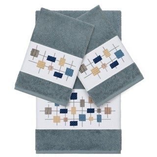 Authentic Hotel and Spa Turkish Cotton Squares Embroidered Teal Blue 3-piece Towel Set