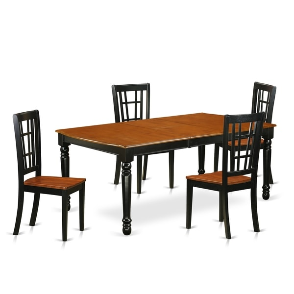 Cherry Kitchen Table And Chairs: Shop DONI5-BCH-W 5 PC Kitchen Tables And Chair Set With
