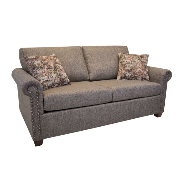 Pauletta Heather Brown Fabric Sofa With Nailhead Trim