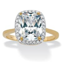 10K Yellow Gold Cubic Zirconia Halo Engagement Ring