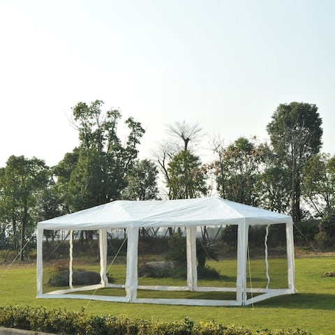 Outsunny 10' x 20' Gazebo Canopy Tent with 4 Removable Mesh Side Walls for Events, Farmer's Markets, & Weddings, Green