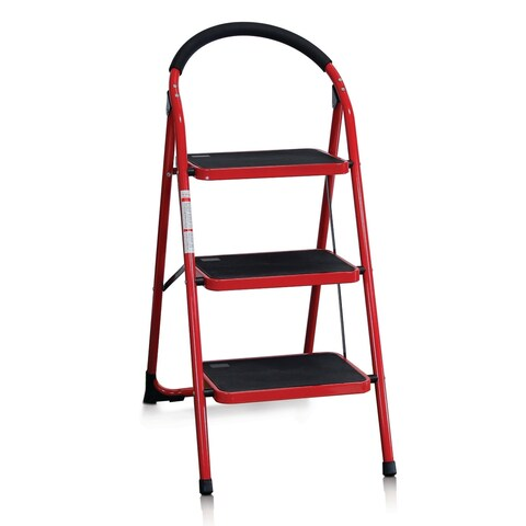 Furinno FNBJ-22116 EASi 3-Step Folding Step Stool, Red