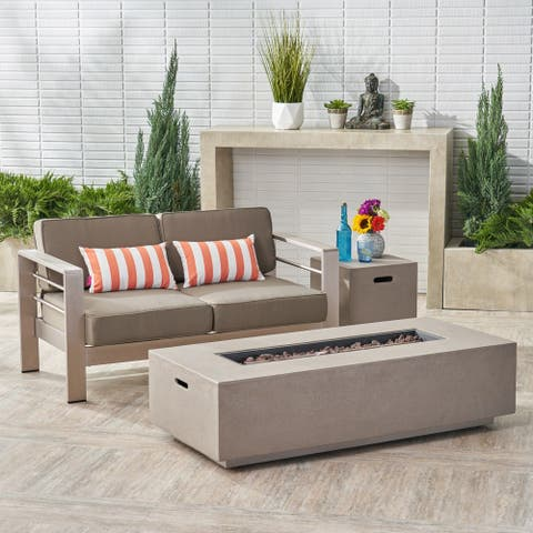 Cape Coral Outdoor Loveseat and Fire Pit Set by Christopher Knight Home