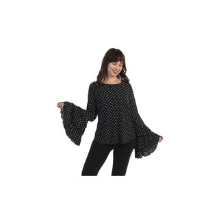 Plus size top, blk with white polka dots, crewneck,3 layers flared long sleeve (size-2x)