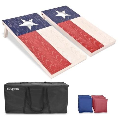 GoSports Texas Regulation Size Wooden Cornhole Set - Texas Flag Design with Bags & Case