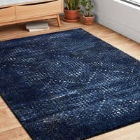 Transitional Navy Blue Abstract Rug - 9'2 x 12'7