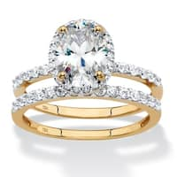 10K Yellow Gold Cubic Zirconia Bridal Ring Set
