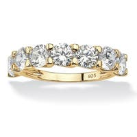 Yellow Gold over Sterling Silver Cubic Zirconia Wedding Band Ring