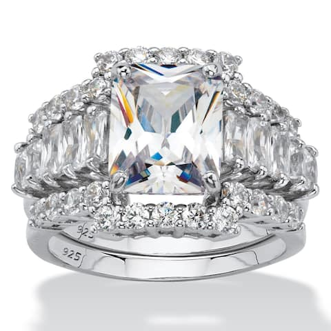 Platinum over Sterling Silver Cubic Zirconia Bridal Ring Set