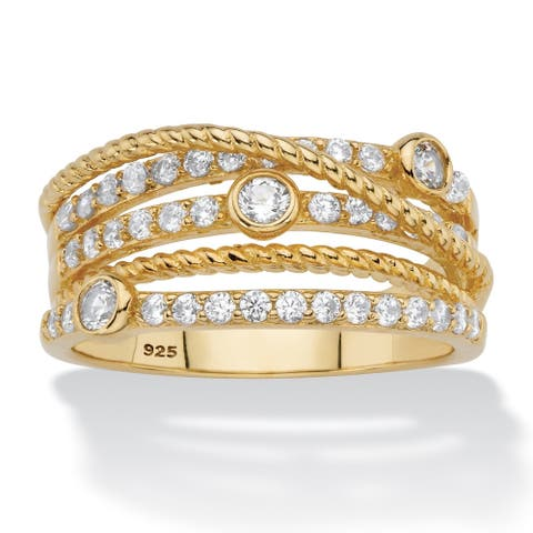 Yellow Gold over Sterling Silver Cubic Zirconia Ring