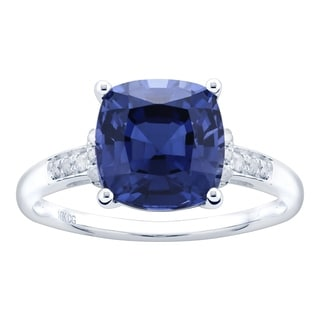 10K White Gold 3 26ct TW Sapphire And Diamond Ring Blue