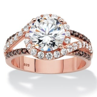 Rose Gold-plated Sterling Silver Cubic Zirconia Engagement Ring