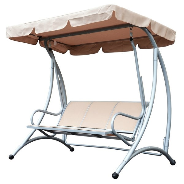 Outsunny 3 Person Steel Outdoor Patio Swing Chair With Canopy   Beige