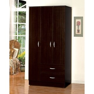 Wooden Wardrobe With Plenty Space, Espresso Brown
