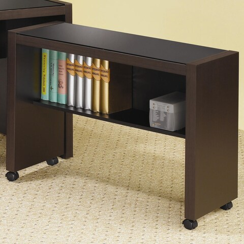 Simply Classy Wood Computer Cart on Caster Wheels With Glass Top, Cappuccino