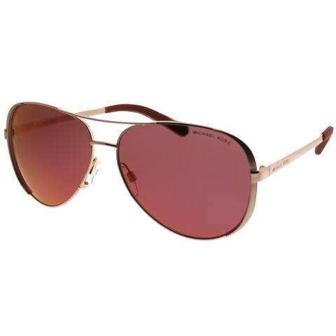 2713af83c7 Michael Kors Aviator MK 5004 Chelsea 1017D0 Women Rose Gold Tone Frame  Burgundy Mirror Lens Sunglasses