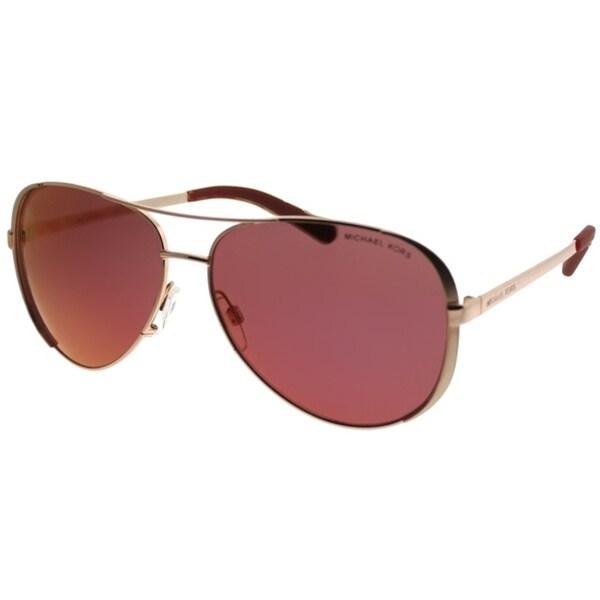 3342d4b01 Michael Kors Aviator MK 5004 Chelsea 1017D0 Women Rose Gold Tone Frame  Burgundy Mirror Lens Sunglasses