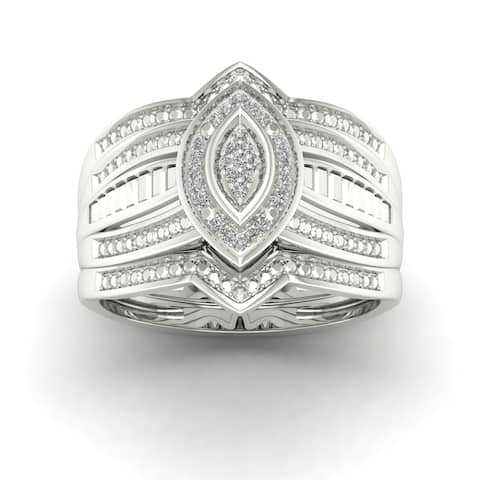 De Couer S925 Sterling Silver 1/10ct TDW Diamond Halo Bridal Ring