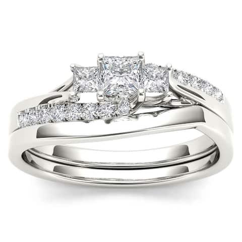 De Couer IGI Certified S925 Sterling Silver 1/2ct TDW Diamond Three Stone Bridal Set