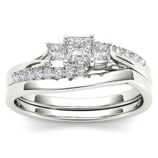 De Couer IGI Certified S925 Sterling Silver 1/2ct TDW Diamond Three Stone Bridal Set