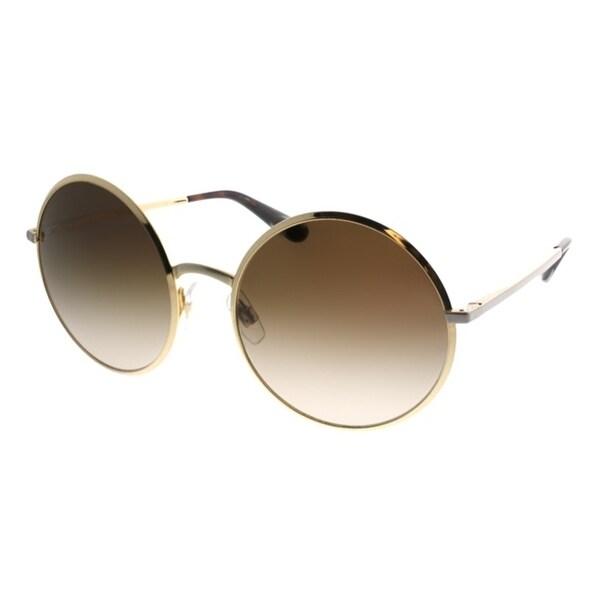 9588d0d19c2 Dolce  amp  Gabbana Round DG 2155 129713 Women Gold Frame Brown Gradient  Lens Sunglasses
