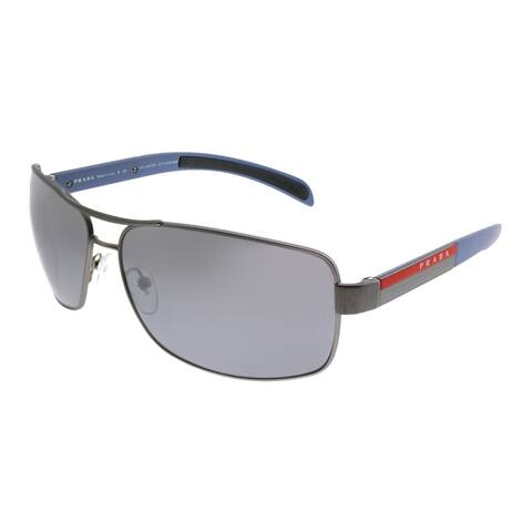 Prada Linea Rossa Aviator PS 54IS DG12F2 Unisex Gunmetal Rubber Frame Silver Mirror Gradient Polarized Lens Sunglasses