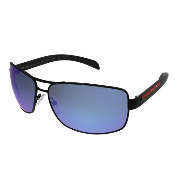 b43d4ddf1b Prada Linea Rossa Aviator PS 54IS DG02E0 Unisex Black Rubber Frame Blue  Mirror Polarized Lens Sunglasses