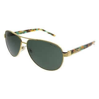 Ralph by Ralph Lauren Aviator RA 4004 900471 Unisex Gold Frame Green Lens Sunglasses