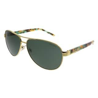 bdcb805eb8d Ralph by Ralph Lauren Aviator RA 4004 900471 Unisex Gold Frame Green Lens  Sunglasses
